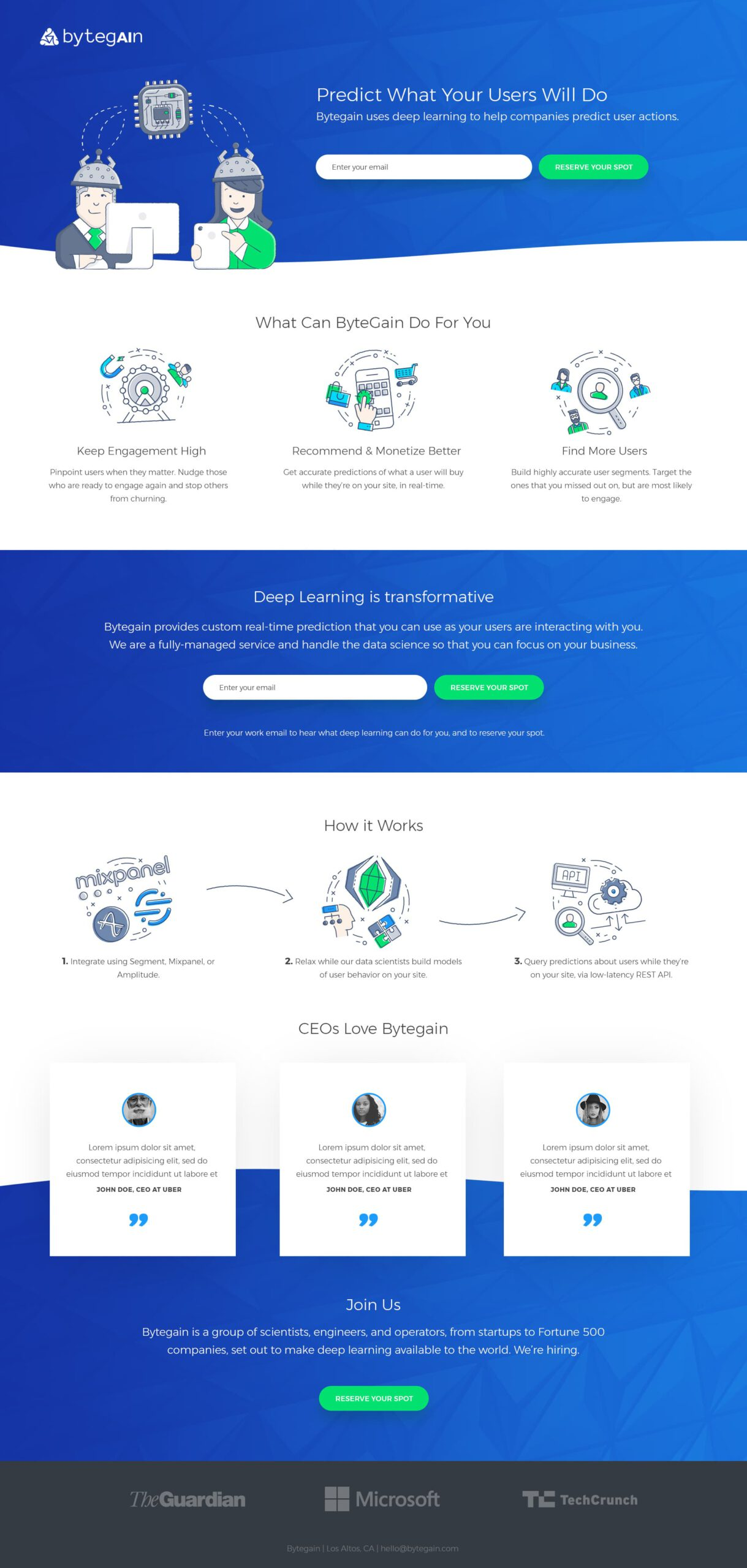 Bytegain Landing Page